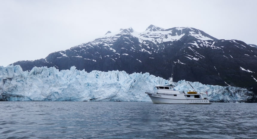 Misty Fjord floats in front of Marjerie Glacier on the islands whales and glaciers cruise.