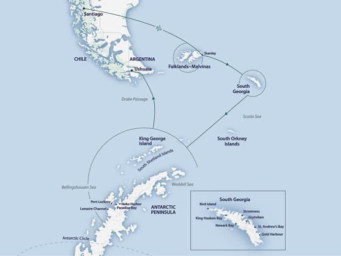 Route map of 19-day South Georgia & Antarctic Odyssey Cruise, operating from Santiago, Chile, to Ushuaia, Argentina, with visits to the Falkland Islands, South Georgia & the Antarctic Peninsula.