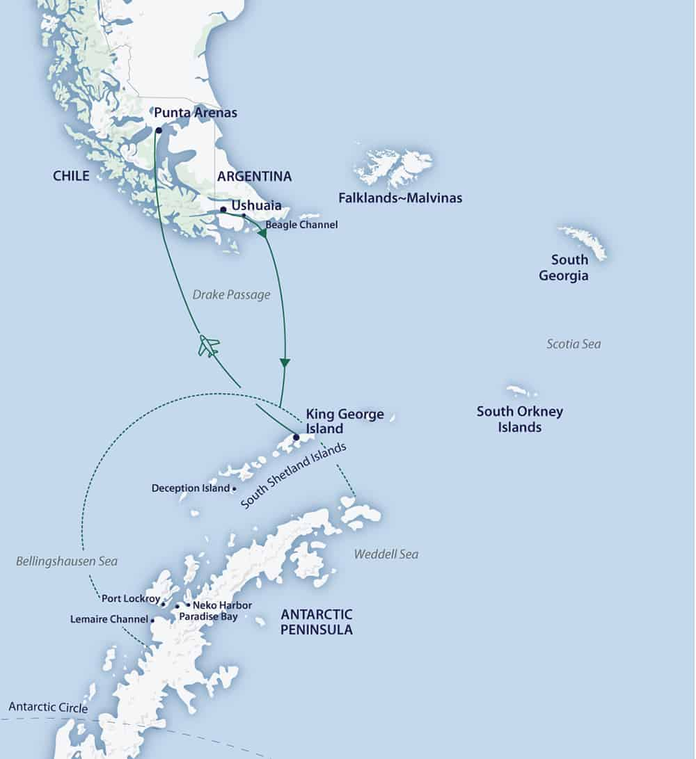 Route map of Cruise/Fly itinerary of Active & Wild Antarctica Air Cruise, operating from Ushuaia, Argentina to Punta Arenas, Chile.