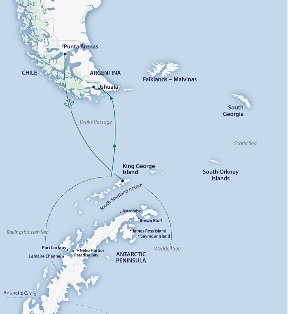 Route map of Fly/Cruise itinerary of Active & Wild Antarctica Air Cruise, operating from Punta Arenas, Chile, to Ushuaia, Argentina.