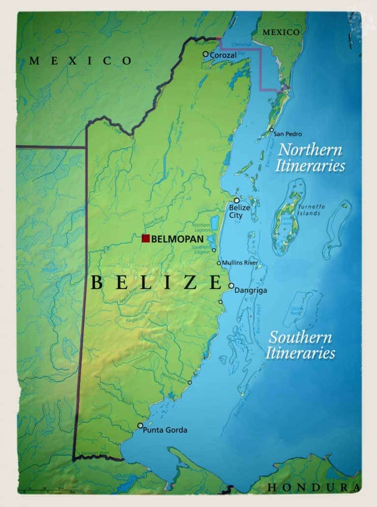 Route map of 10-day Southern & 7-day Northern sample itineraries for Belize Sailing Adventure, along the Belize Barrier Reef & coastline.