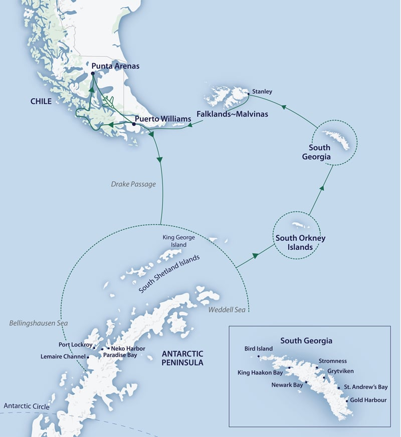 Route map of the Solar Eclipse-Antarctica cruise, operating round-trip from Punta, Arenas, Chile, with visits to the Falkland Islands, South Georgia, the South Orkney Islands & the Antarctic Peninsula.