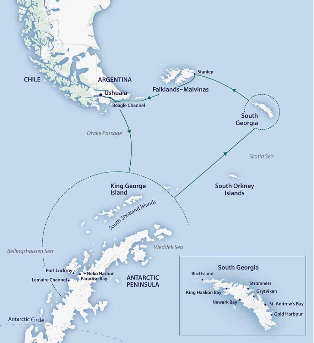 Route map of 22-day South Georgia & Antarctic Odyssey cruise, operating round-trip from Ushuaia, Argentina, counterclockwise, with visits to the South Shetland Islands, Antarctic Peninsula, South Georgia, the Falkland Islands & Staten Island.