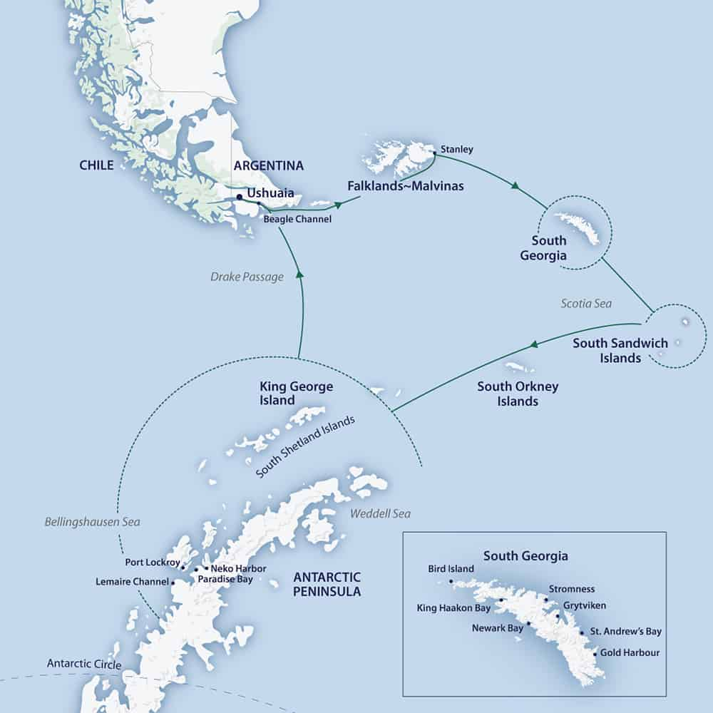 Route map of the South Georgia & Antarctic Odyssey feat. South Sandwich Islands cruise, operating round-trip from Ushuaia, Argentina, clockwise, with additional visits to the Falkland Islands, South Orkney Islands, Antarctic Peninsula & South Shetland Islands.