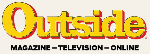 Outside Magazine logo, consisting of yellow bold block text with red shadow spelling Outside. Underneath, black text saying magazine, television and online.