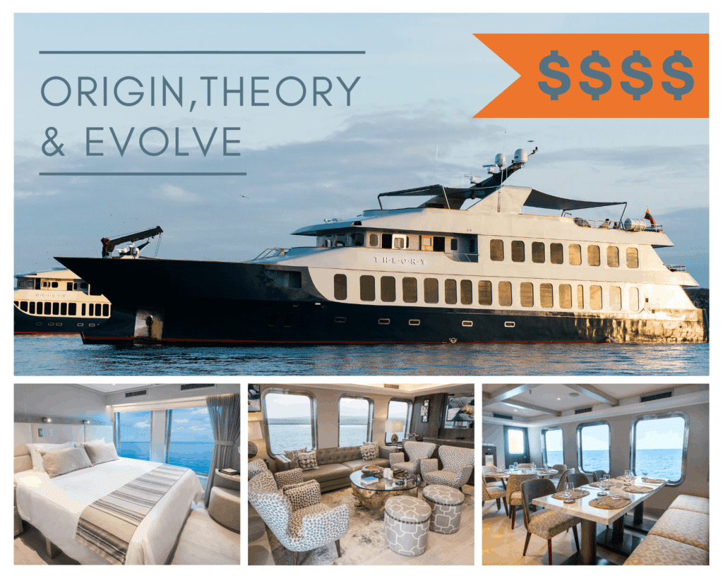 A photo collage featuring exterior and interior images of the Origin, Theory and Evolve Galapagos luxury yacht