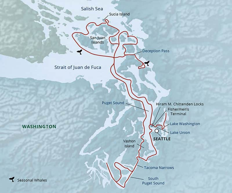 Route map of Salish Sea & San Juan Islands Adventure Cruise, operating round-trip from Seattle, Washington, with visits to South Puget Sound, Deception Pass & Sucia Island.