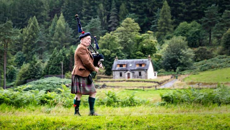 Kilted Scottish bag piper plays his instrument among bright green grass with forest & a small country home in the background.