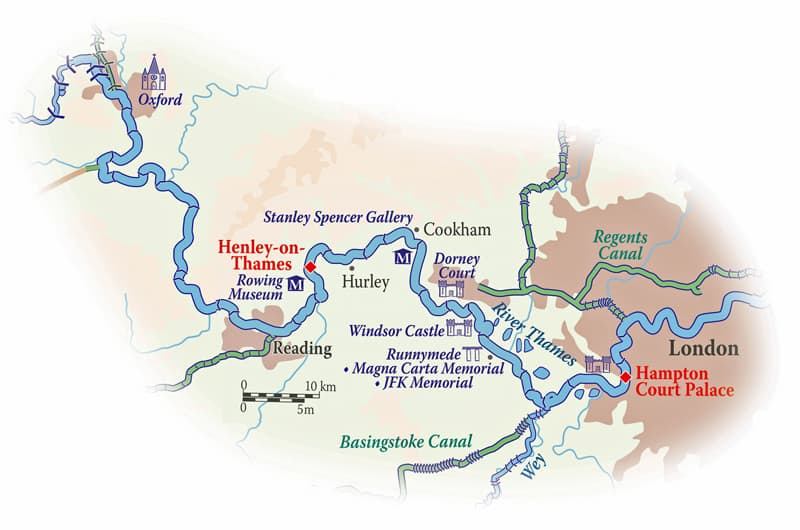 Route map of Classic England River Thames Including Downtown Abbey Cruise, operating between London & Henley-on-Thames, with overland transit to end in London, and visits to Hampton Court Palace, Runnymede, Windsor, Cliveden, Hurley & Oxford.