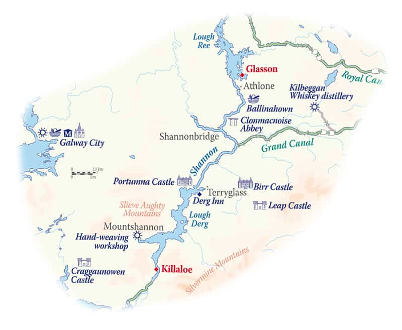 Route map of Classic Ireland River Cruise, operating round-trip from Glasson, along the River Shannon, with visits to Athlone, Shannonbridge, Terryglass, Mountshannon & Killaloe.