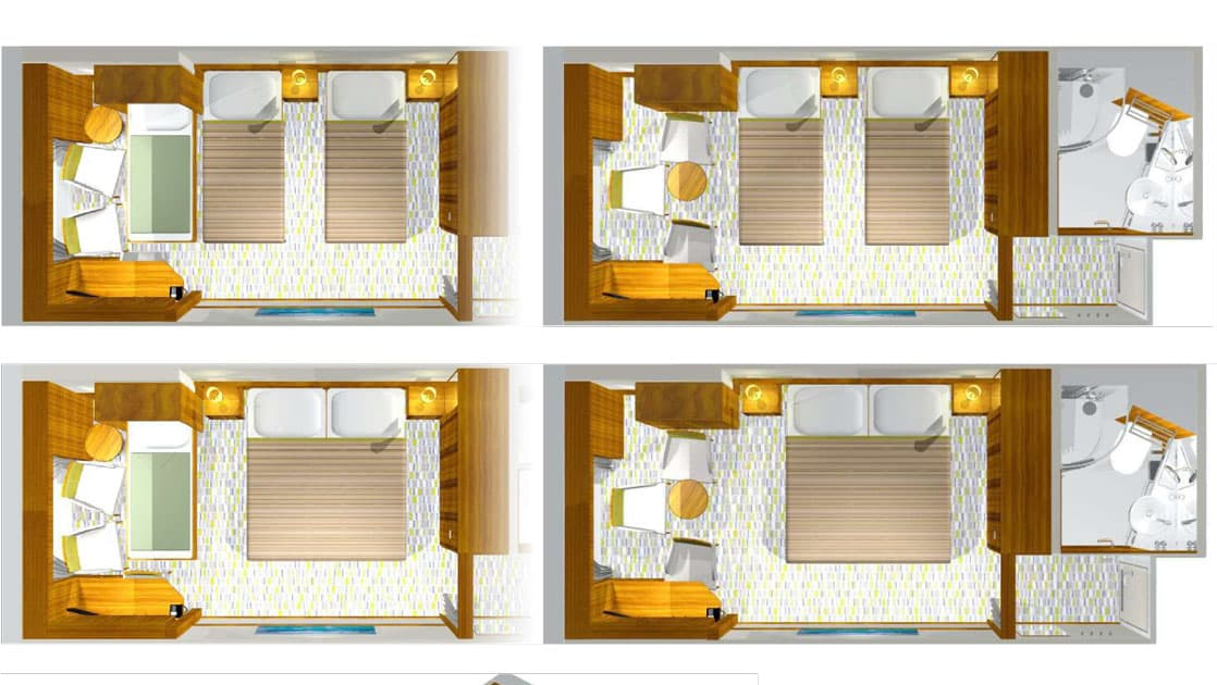 Bird's eye view of Triple Stateroom aboard M/S Seaventure, with 1 queen or 2 twin beds plus a 3rd twin bed, set up during day (bedding for 2) and night (bedding for 3).