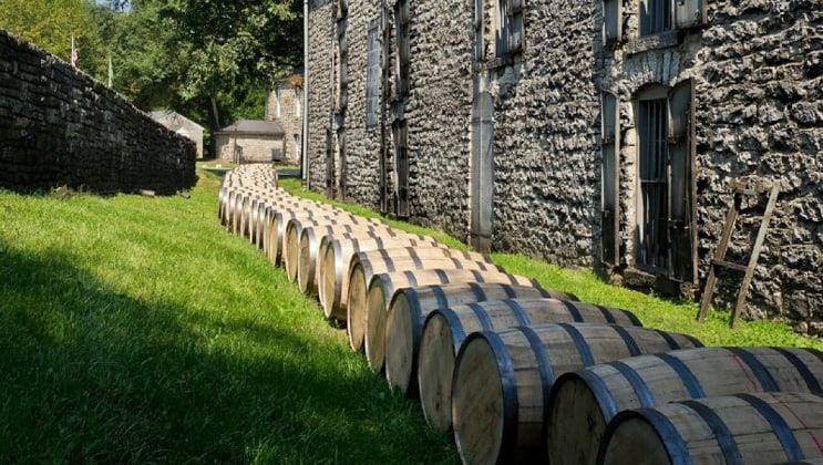 Line of whiskey barrels sits in a row along green grass & a stone building, seen during an Ireland barge cruise.