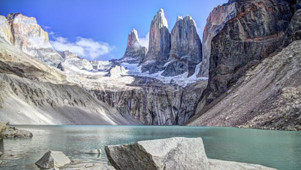 The glacial lake at the end of the Patagonia Towers Base Hike with famous mountains towering above.