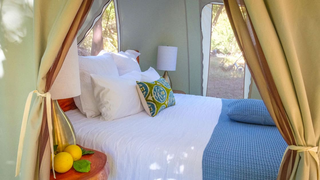 Canvas green and beige Baja glamping tent at Camp Cecil de la Sierra, with wooden tables, wired lamps, king bed & nice white-&-blue linens.