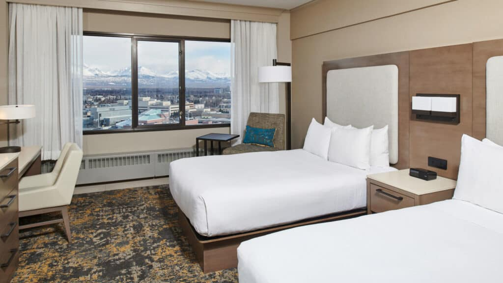 Double room at Hilton Downtown Anchorage
