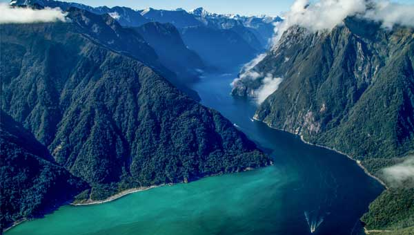 An aerial view of Fiordland National Park near Milford Sound in New Zealand showing a small cruise ship in the green water fjord and towering mountains.