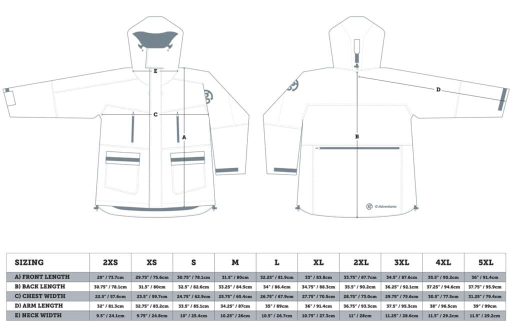 Sizing chart for polar parka included on M/S Expedition small ship cruises