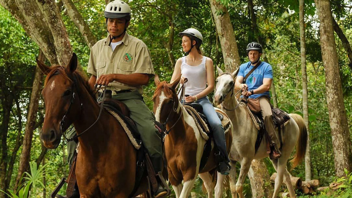 A couple following behind their guide on a horseback riding jungle tour in Belize.