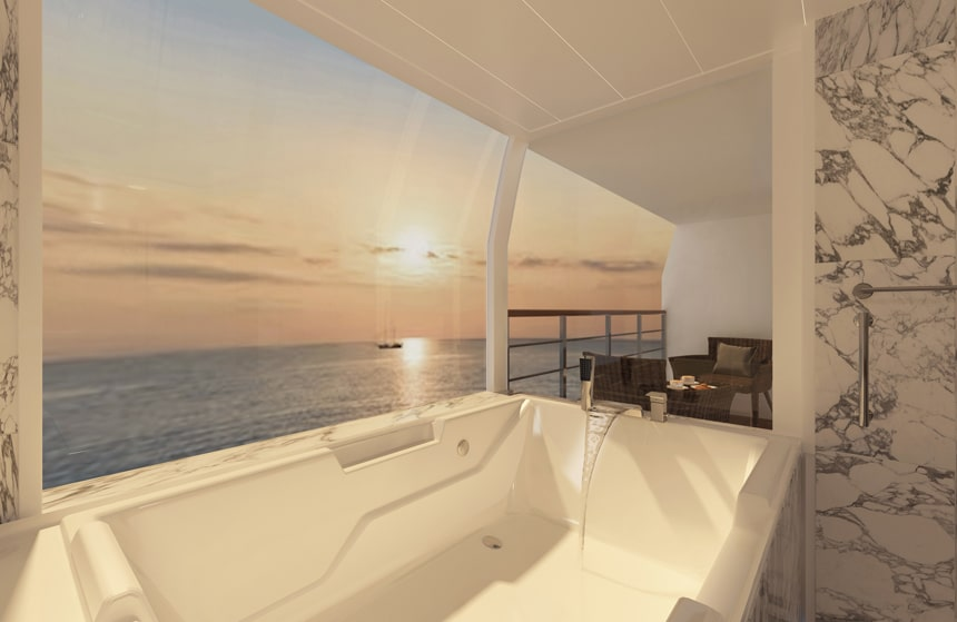 Rendering of a white jet bathtub inside a suite aboard the new Coral Geographer yacht. Panoramic windows open to a pastel sunset.