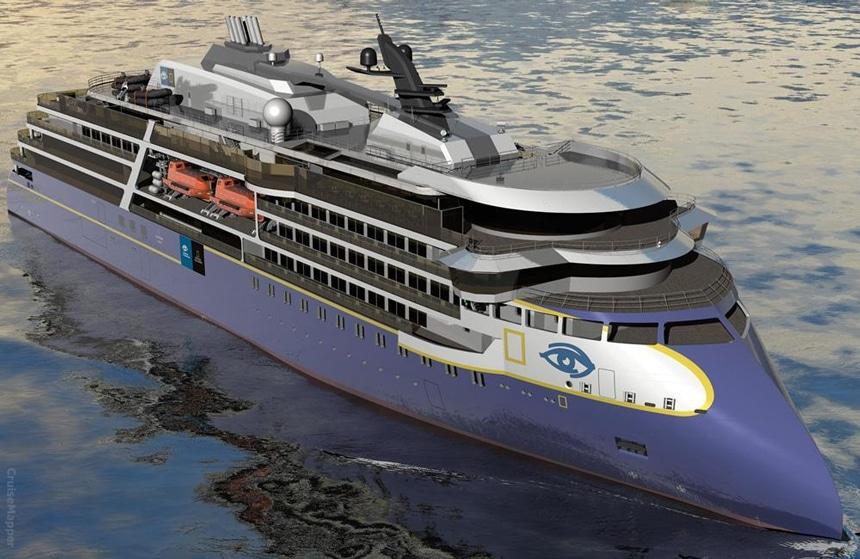 A rendering of the exterior of the new polar expedition ship National Geographic Resolution.