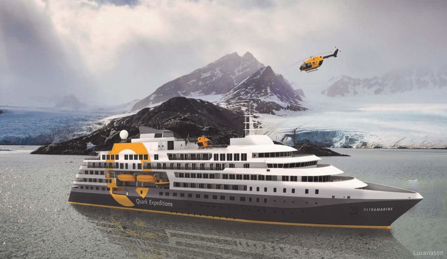 A rendering of the brand new polar expedition ship Ultramarine grey white and yellow with its onboard helicopter flying overhead.