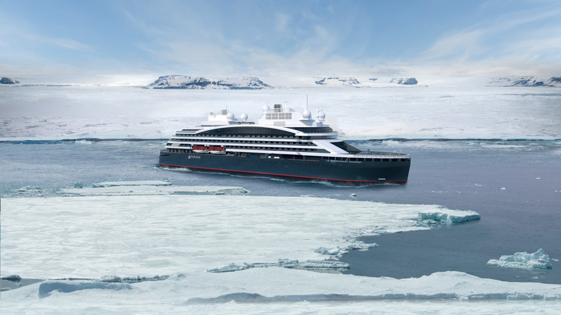 Rendering of dark blue expedition ship cruising ice-laden waters, seen from side.