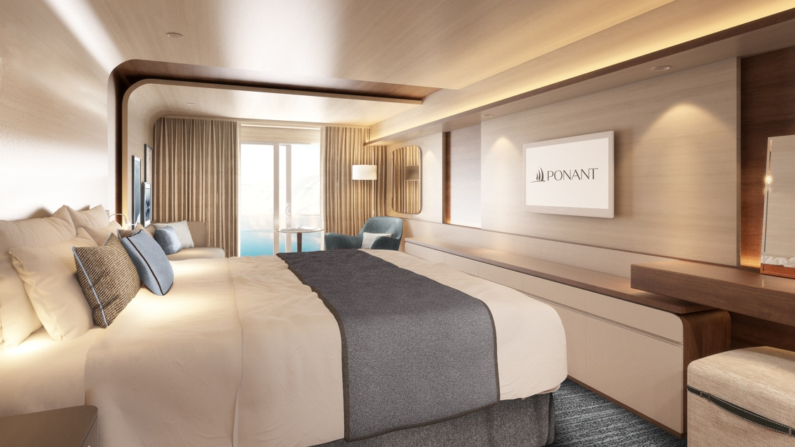 Rendering of cabin aboard Le Commandant Charcot ship, with beige & blue color theme, double bed, couch, TV & private balcony.