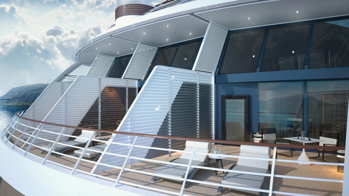 Rendering of terrace with 2 lounge chairs & table on Le Commandant Charcot hybrid electric ship.