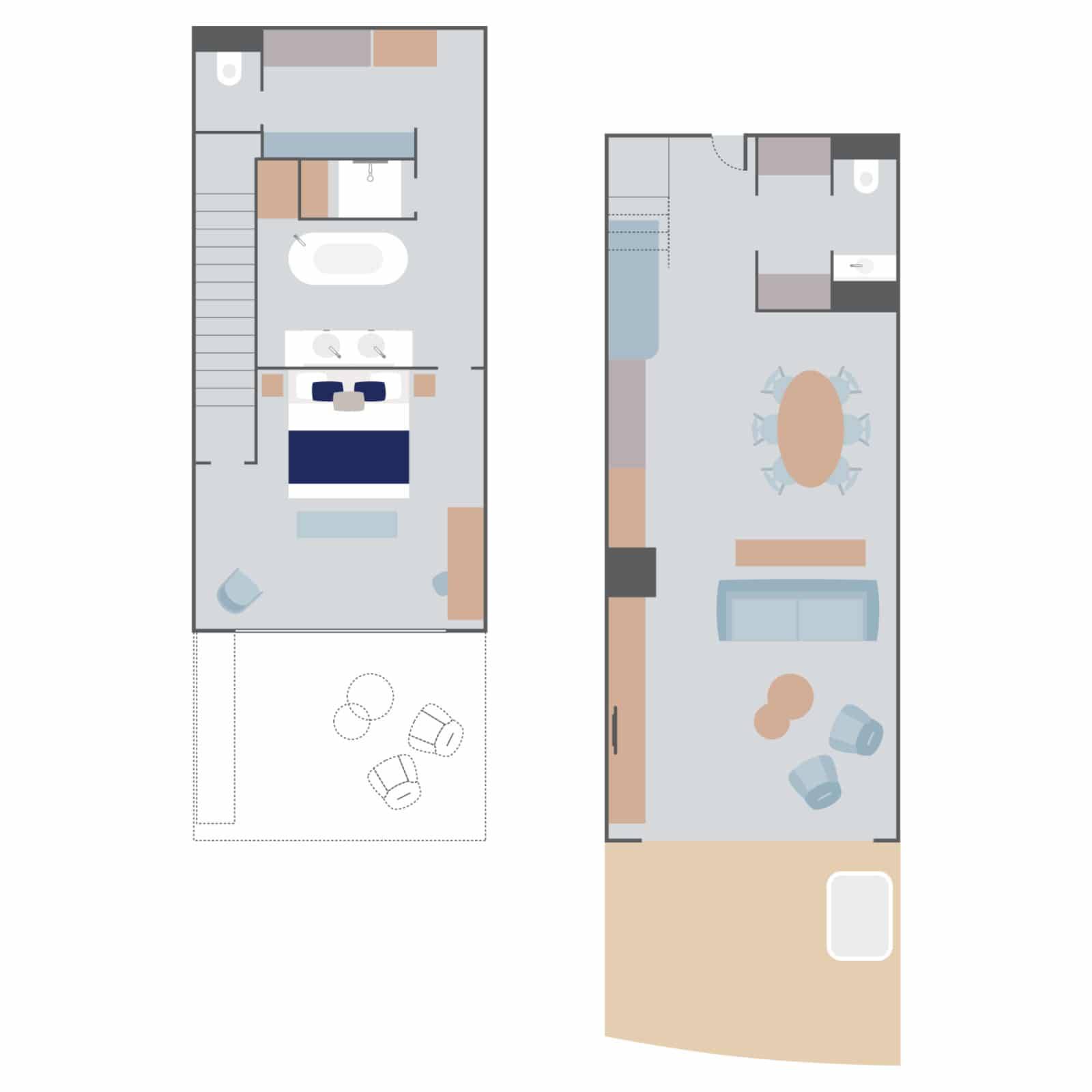 Layout of Duplex Suite aboard Le Commandant Charcot hybrid electric ship with two floors connected by stairs, double bed, couches & 2 separate seating areas, 2 bathrooms (1 with tub), walk-in closet, kitchen table & chairs & large doorway to a balcony with a hot tub.
