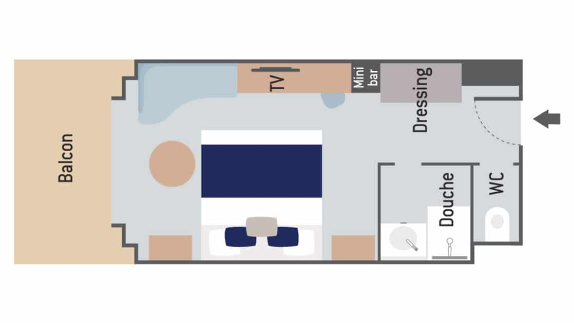 Layout of Prestige Stateroom aboard Le Commandant Charcot hybrid electric ship with double bed, couch, bathroom & closet.