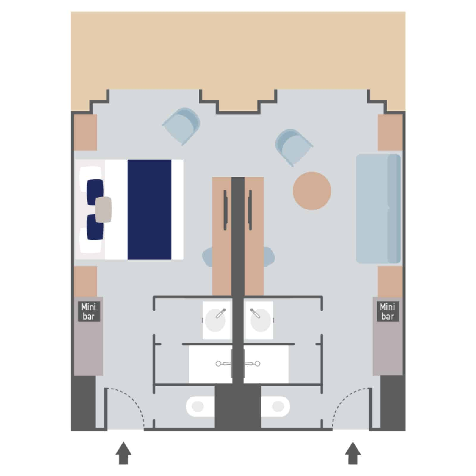 Layout of Prestige Suite aboard Le Commandant Charcot hybrid electric ship with interconnecting rooms, double bed, couch, 2 bathrooms, 2 closets & 2 doorways to a double balcony.