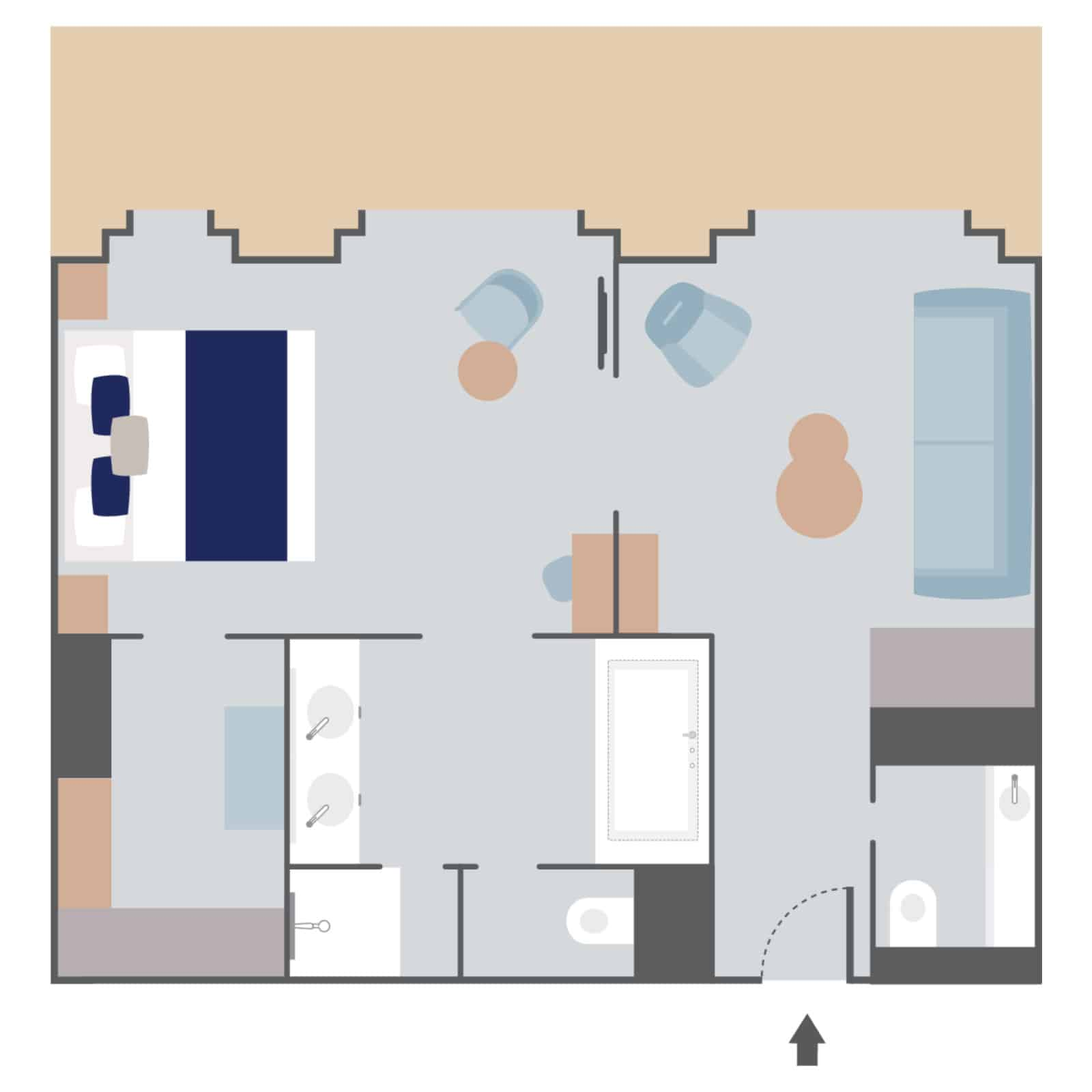 Layout of Privilege Suite aboard Le Commandant Charcot hybrid electric ship with one large room, double bed, couch & separate seating area, 2 bathrooms (1 with tub), walk-in closet & 3 doorways to a large balcony.