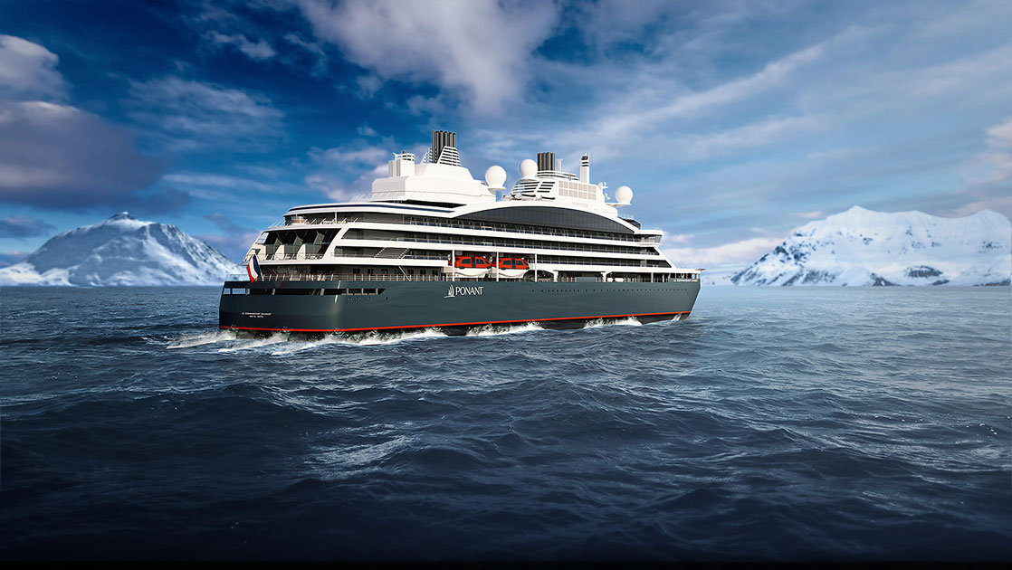 Rendering of dark blue expedition ship cruising ice-laden waters, seen from aft.