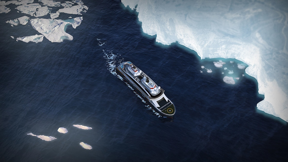 Aerial view rendering of Le Commandant Charcot polar expedition ship, showing heli pad, blue hull & white upper decks as she cruises the Ross Sea.