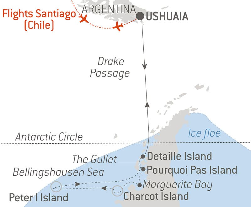 Route map of the Expedition to Charcot & Peter I Islands cruise aboard Le Commandant Charcot, cruising round-trip from Ushuaia,, Argentina, with round-trip bookend flights via Santiago, Chile, and visits to the Antarctic Circle, Charcot Island, Peter I Island, Marguerite Bay, Pourquoi Pas Island, Detaille Island & Drake Passage.