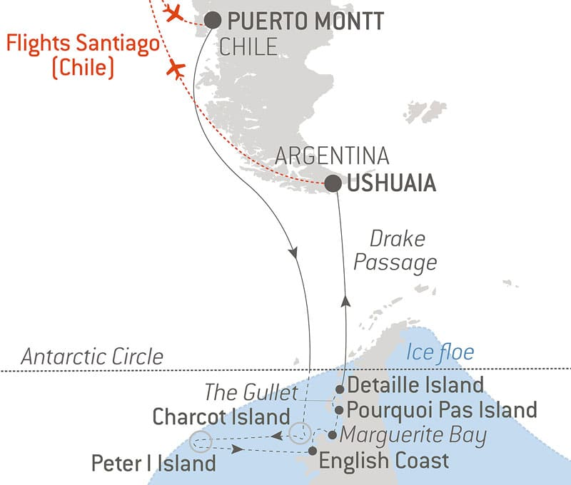 Route map of the Emperor Penguins of Bellingshausen Sea cruise aboard Le Commandant Charcot, cruising from Puerto Montt, Chile, to Ushuaia,, Argentina, with round-trip bookend flights via Santiago, Chile, and visits to the Antarctic Circle, Charcot Island, Peter I Island, English Coast, Marguerite Bay, Stonington Island, Pourquoi Pas Island, Detaille Island & Drake Passage.