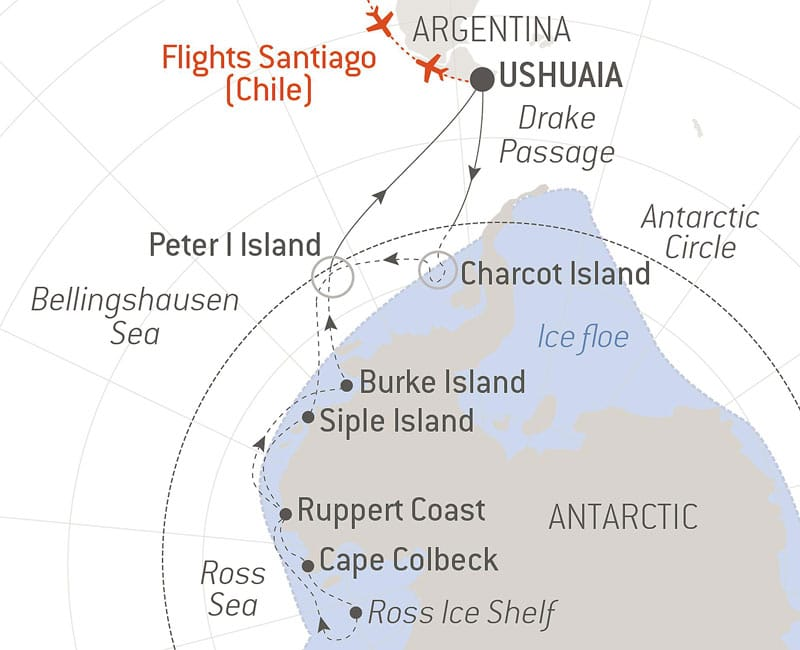Route map of the Ross Sea cruise aboard Le Commandant Charcot, cruising round-trip from Ushuaia, Argentina, with round-trip bookend flights via Santiago, Chile, and visits to the Antarctic Circle, Charcot Island, Peter I Island, Bellingshausen Sea, Siple Island, Ruppert Coast, Cape Colbeck, the Ross Ice Shelf, Burke Island & Drake Passage.