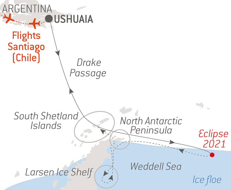 Route map of the Antarctica Total Eclipse cruise aboard Le Commandant Charcot, round-trip from Ushuaia, Argentina, with bookend flights via Santiago, Chile, and visits to the South Shetland Islands, North Antarctic Peninsula, Larsen Ice Shelf & Drake Passage.