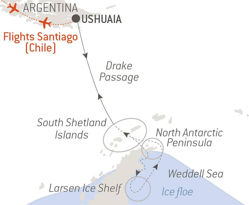 Route map of The Weddell Sea & Larsen Ice Shelf Antarctica cruise aboard Le Commandant Charcot, round-trip from Ushuaia, Argentina, with bookend flights via Santiago, Chile, and visits to the South Shetland Islands, North Antarctic Peninsula & Drake Passage.