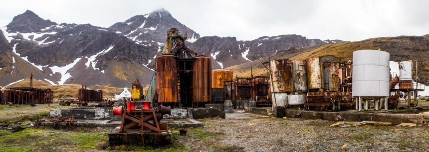 several old, rusted, and abandoned pieces of whaling machinery in grytviken, south georgia, antarctica