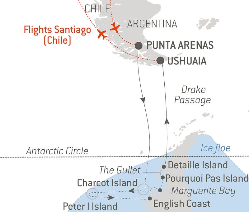 Route map of the Emperor Penguins of Bellingshausen Sea cruise aboard Le Commandant Charcot, cruising from Punta Arenas, Chile, to Ushuaia,, Argentina, with round-trip bookend flights via Santiago, Chile, and visits to the Antarctic Circle, Charcot Island, Peter I Island, English Coast, Marguerite Bay, Stonington Island, Pourquoi Pas Island, Detaille Island & Drake Passage.