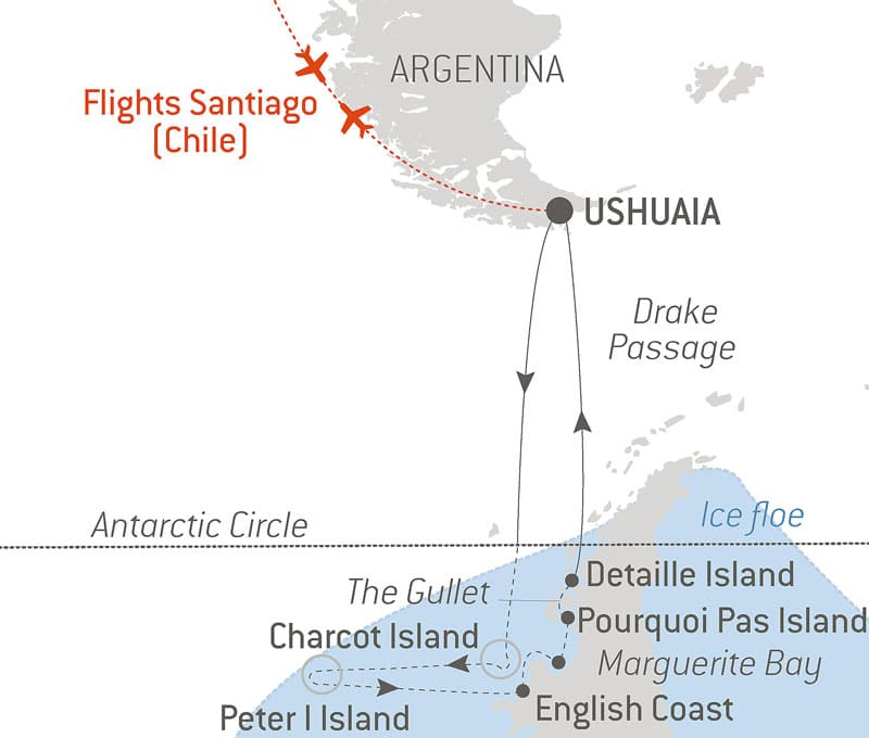 Route map of the Emperor Penguins of Bellingshausen Sea cruise aboard Le Commandant Charcot, cruising round-trip from Ushuaia,, Argentina, with round-trip bookend flights via Santiago, Chile, and visits to the Antarctic Circle, Charcot Island, Peter I Island, English Coast, Marguerite Bay, Stonington Island, Pourquoi Pas Island, Detaille Island & Drake Passage.