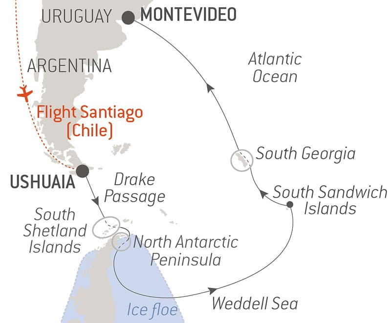 Route map of The Weddell Sea & South Sandwich Islands Antarctica cruise aboard Le Commandant Charcot, flying from Santiago, Chile, to embark Ushuaia, Argentina, and disembarking in Montevideo, Ushuaia, with visits to the South Shetland Islands, North Antarctic Peninsula, Drake Passage and South Georgia.