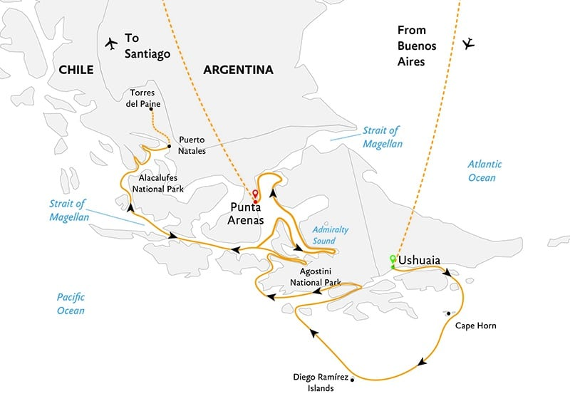 Route map of Essential Patagonia: Chilean Fjords & Torres del Paine Cruise, operating from Buenos Aires to Ushuaia, Argentina for embarkation, disembarking at Punta Arenas, Chile and ending in Santiago, Chile.