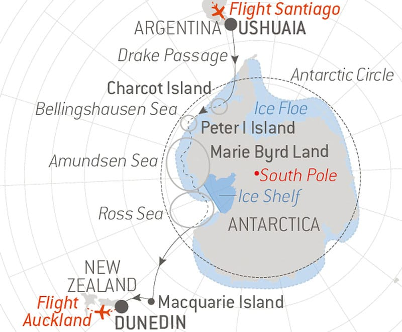 Route map of the Unexplored Antarctica: Between Two Continents voyage on Le Commandant Charcot, cruising from Ushuaia, Argentina, to Dunedin, New Zealand, with visits to the Antarctic Circle, Charcot Island, Peter I Island, Bellingshausen Sea, Amundsen Sea, Ross Sea & Macquarie Island.