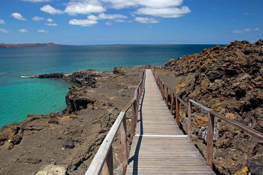 Over jagged lava rock of the Galapagos a wooden pathway with hand rails leads down to the teal ocean waters edge.