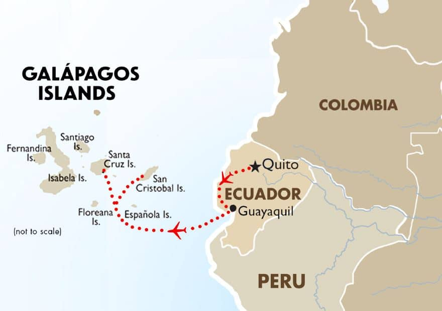 Map of the Galapagos Islands and west coast of South America showing Columbia, Ecuador and Peru. Red dotted line with red airplane icon shows flight path starting in Quito, Ecuador and ending on Galapagos islands.