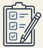 Entry requirements icon: A clipboard, pencil and check boxes on a piece of paper.