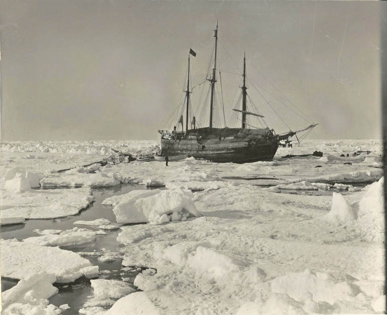 An old photo from 1893 The historic Fram ship stuck among thick ice bergs in the Arctic ocean during her expedition with famous explorer Nansen.