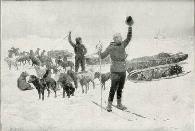 A historic photo from 1893 shows famous explorer Nansen waving goodbye as he and another crew member set off to explore with dogs and sleds.